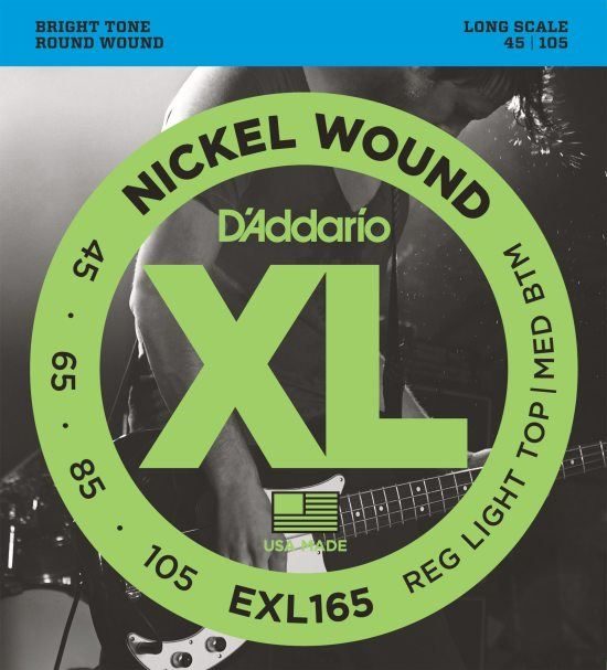 EXL165TP Nickel Wound Bass, Light, 45-105, Long Scale - 2 sæt